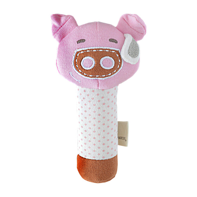 Organic Cotton Rattle - Pokey the Pig