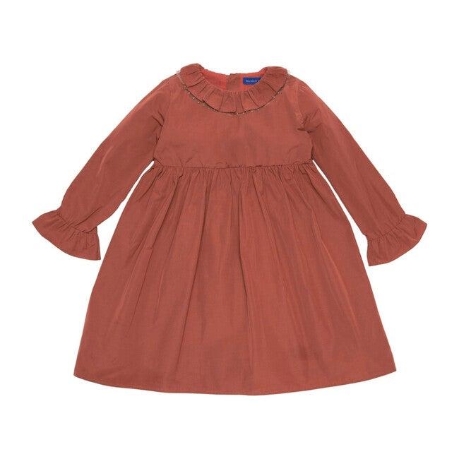 Audrey Taffeta Dress with Glitter Collar Detail, Rose Coco