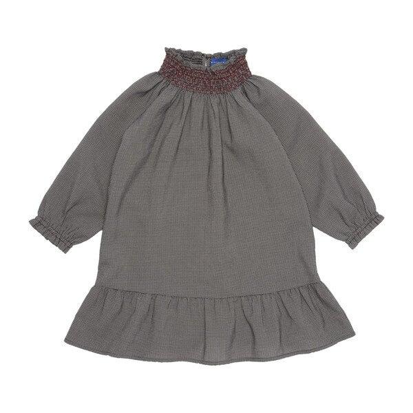Olivia Smocked Long Sleeve Check Dress, Black & White