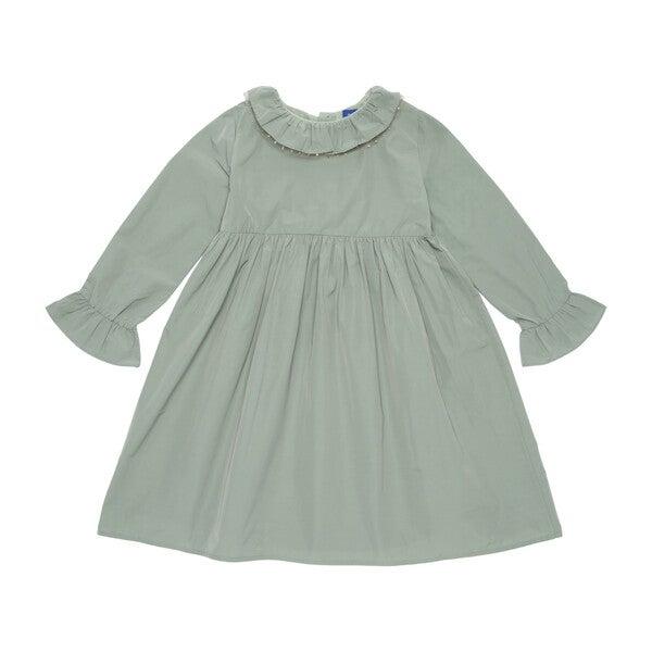 Audrey Taffeta Dress with Glitter Collar Detail, Sage Green