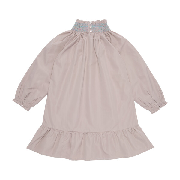 Olivia Smocked Long Sleeve Taffeta Dress, Pale Dusty Rose