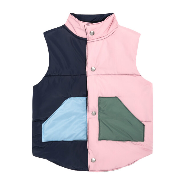 Adult Emery Color Blocked Vest, Pink Multi