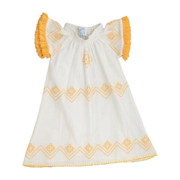 Hadley Smocked Tunic Dress White with Yellow Fringe