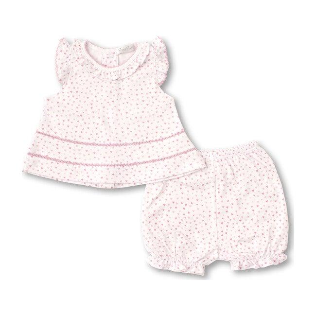Sweethearts Sunsuit Set, White & Pink