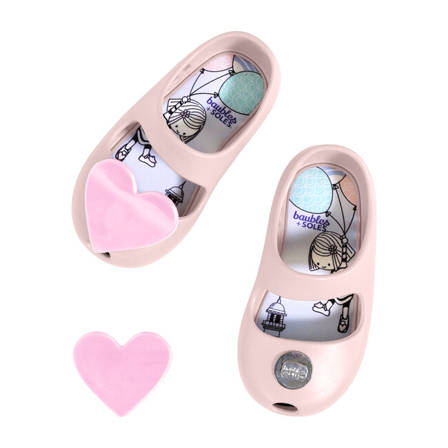 Kaia Shoe, Ballet Slipper with Pink Heart
