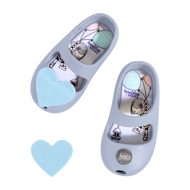 Kaia Shoe, Dusty Blue with Blue Heart