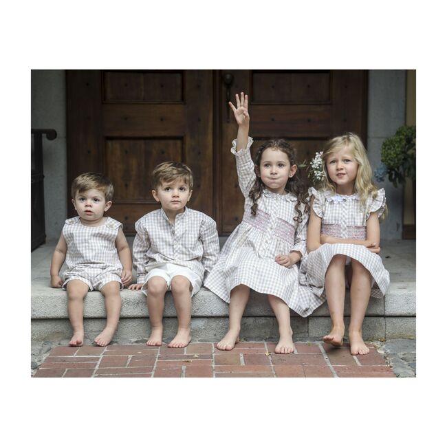 Macarena Dress, Beige Gingham