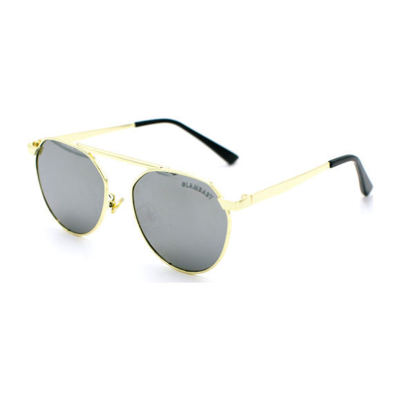 Cyrus Frame Sunglasses, Silver and Gold