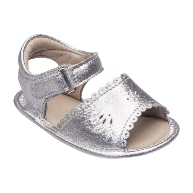 Baby Classic Sandal with Scallop, Metallic Silver