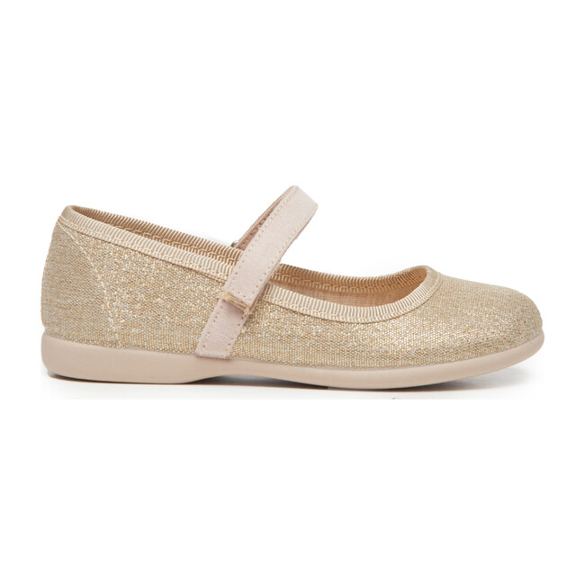 Canvas Mary Janes, Shimmer Gold