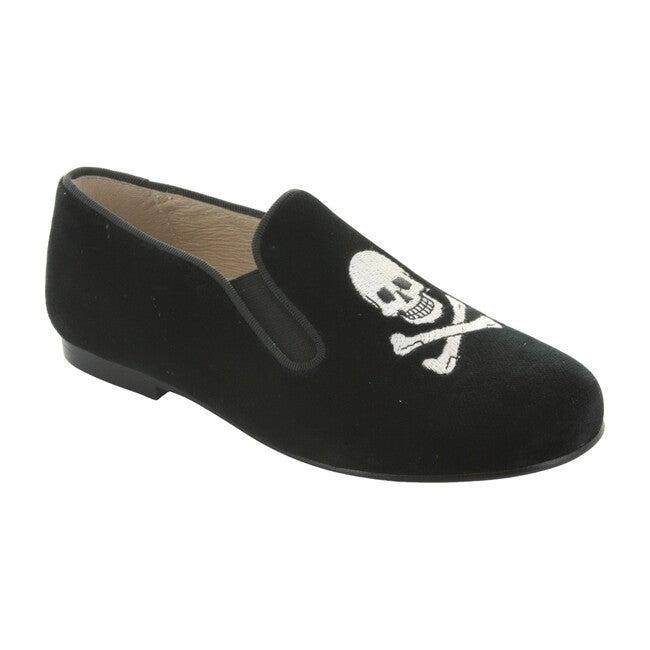 Barron's Skull Smoking Shoe, Black Velvet/White