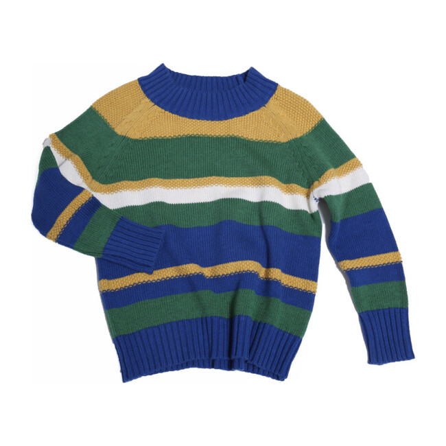 Noah Striped Pullover, Cobalt Mix - Sweaters - 1