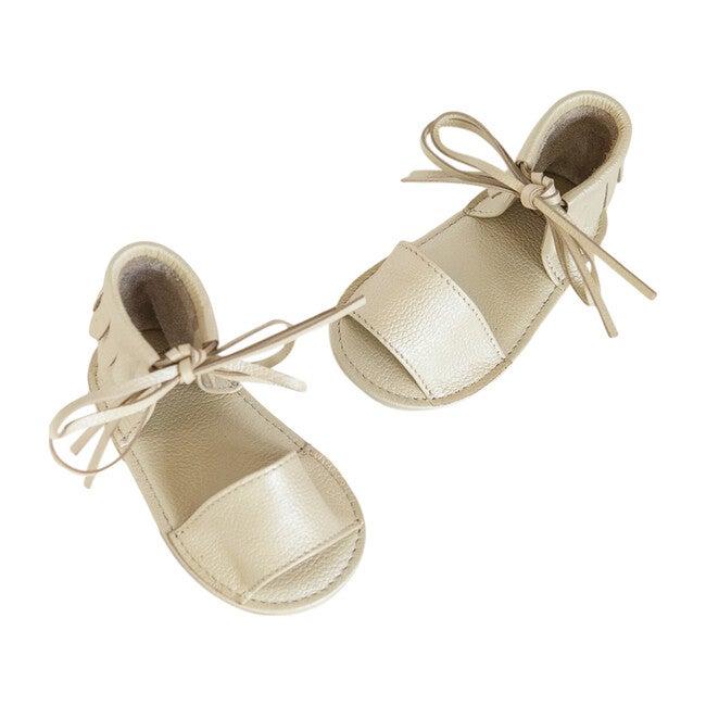 Boho Fringed Sandals, Metallic Sand Shell