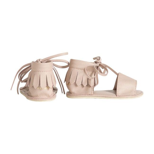 Boho Fringed Sandals, Silver Peony