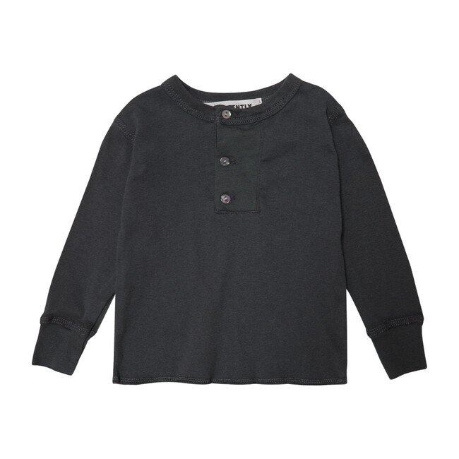 Wide Placket Henley, Charcoal