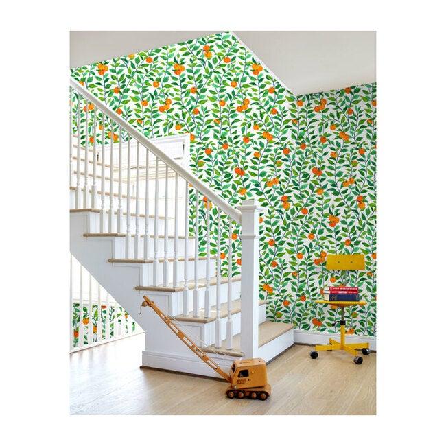 Nathan Turner Orange Crush Traditional Wallpaper, White