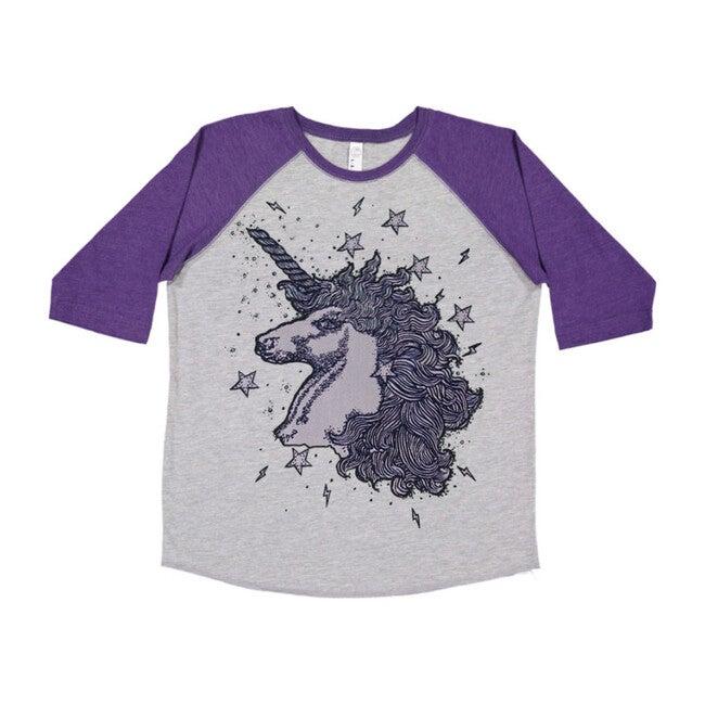 Unicorns & Stardust Baseball Tee, Purple and Grey