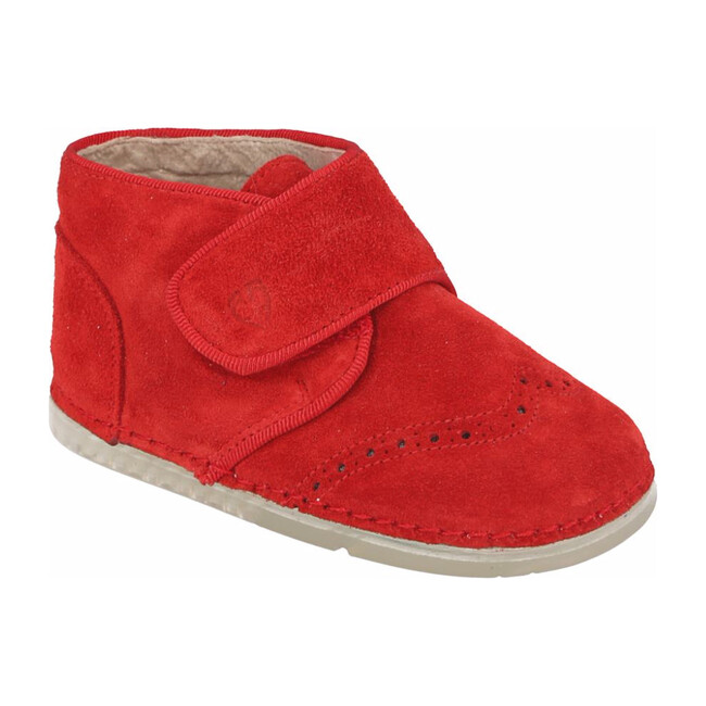 Valencia Velcro Brogue Boot, Red