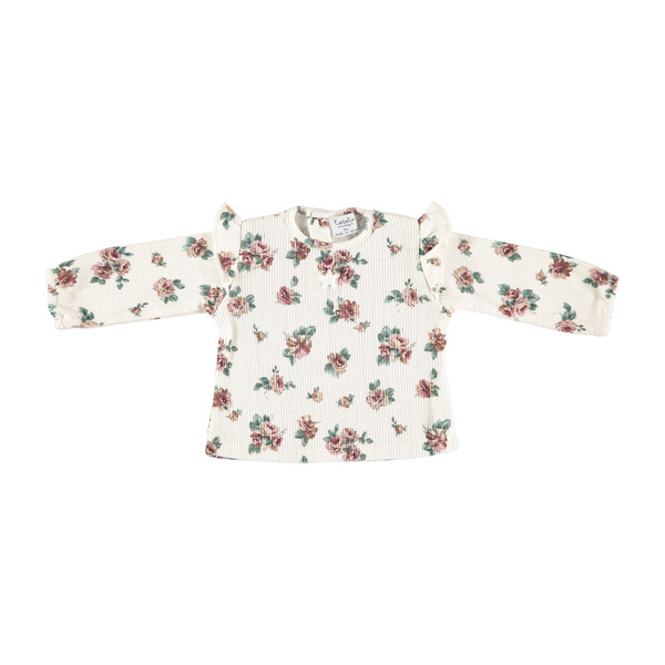 Baby Ribbed Long Sleeve Shirt, Flower Print
