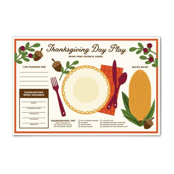 Thanksgiving Kid's Place Mat, Beige Multi