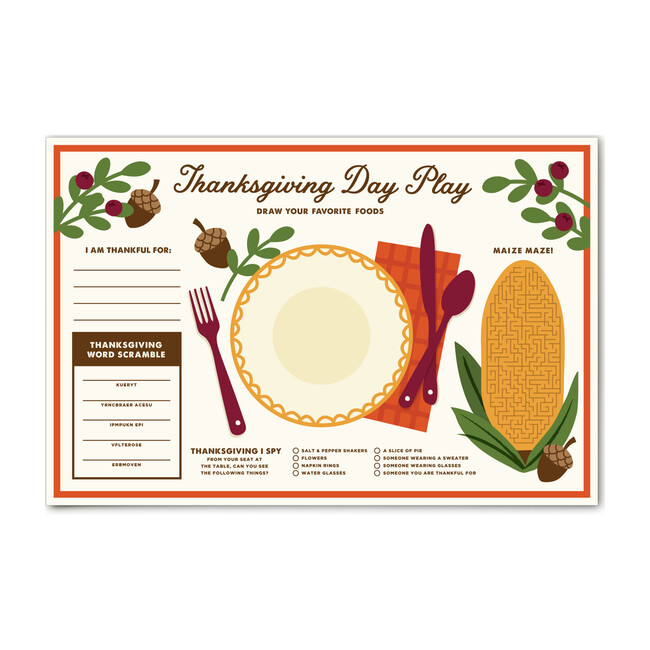 Thanksgiving Kid's Place Mat, Beige Multi - Paper Goods - 1