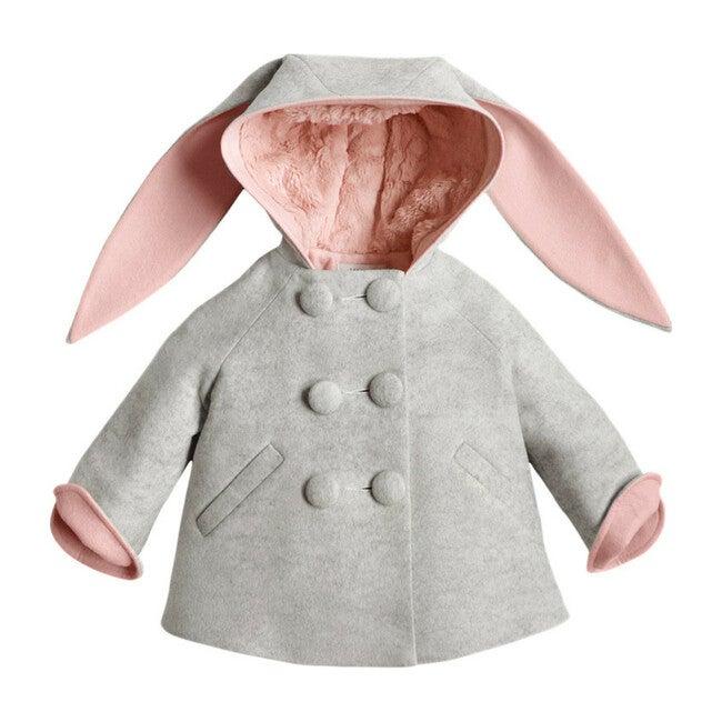 Six Button Bunny Coat, Grey & Pink