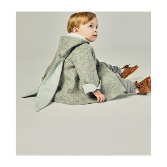 Six Button Bunny Coat, Grey & Blue