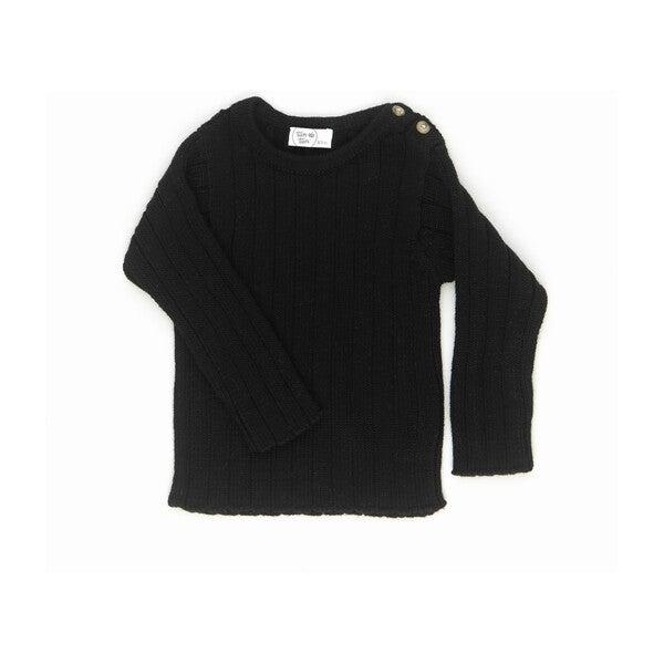 Solid Rib Sweater, Black