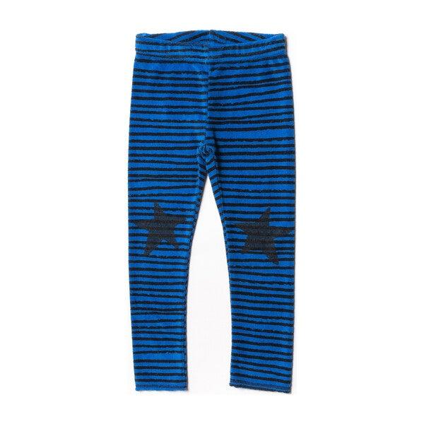 Terry Leggings, Blue Stripes