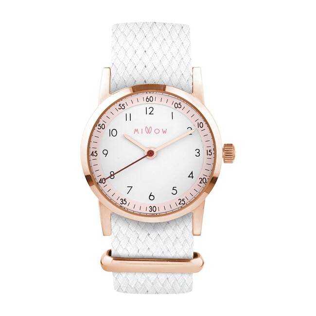 Millow Blossom Braided Watch, White and Rose Gold