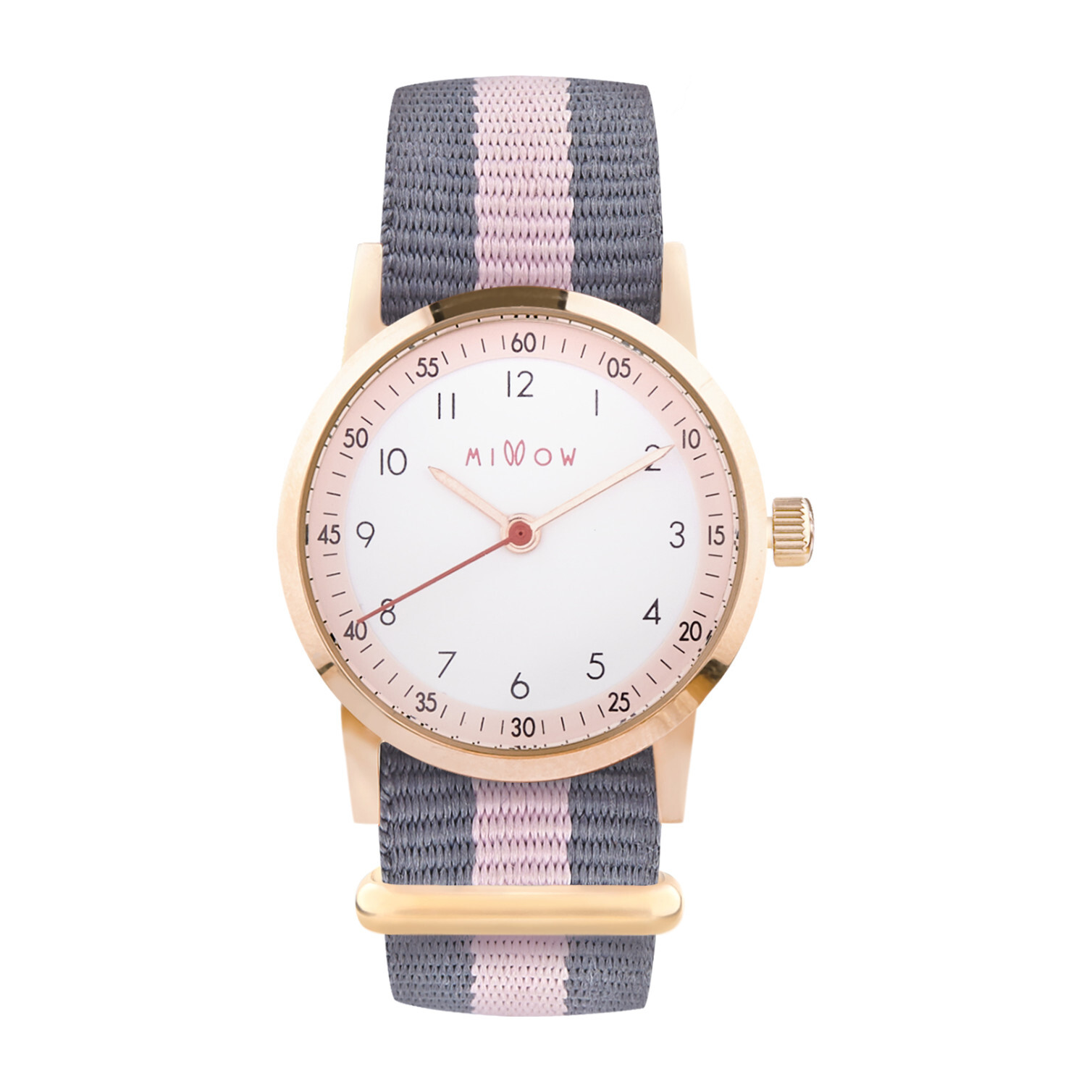 Millow Blossom Watch, Grey Stripe and Rose Gold