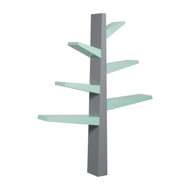 Spruce Tree Bookcase, Grey/Cool Mint