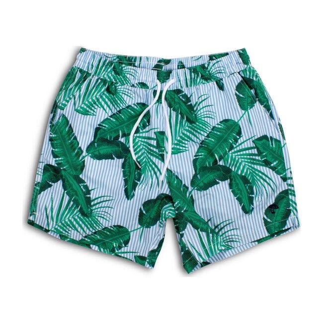 Mens Swim Trunks, Botanical Palm with Blue Pinstripes