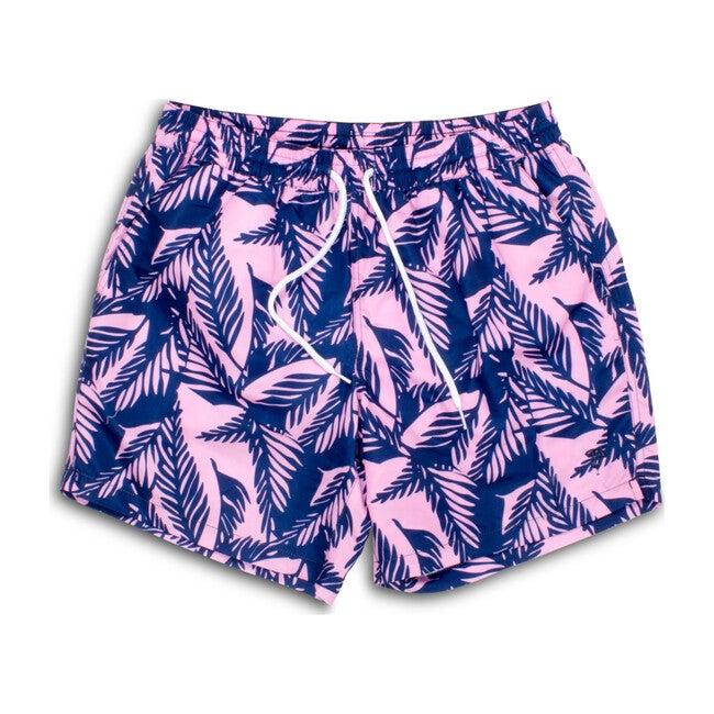 Mens Swim Trunks, Navy & Pink Palm Reader