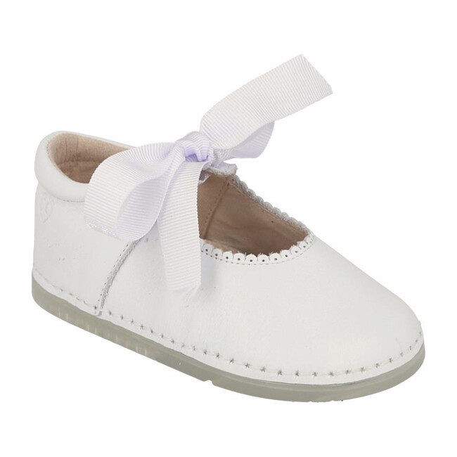 Malaga Mary Jane with Grosgrain Bow, White