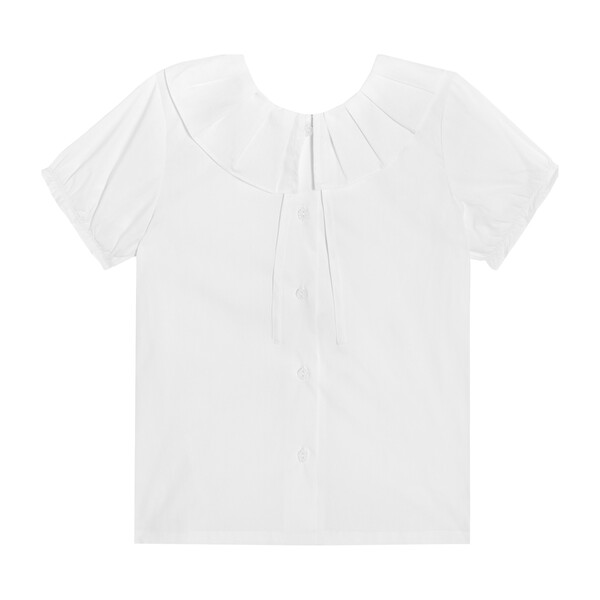Lily Short Sleeve Ruffle Collar Blouse, White