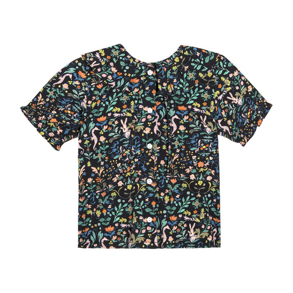 Lily Short Sleeve Ruffle Collar Blouse, Midnight Flowers & Rabbits