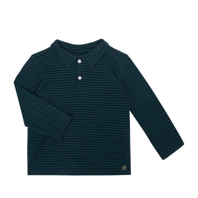 Finley Long Sleeve Polo, Navy & Hunter Green Stripe