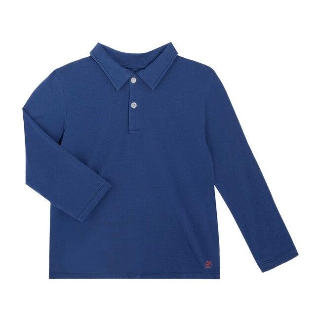 Finley Long Sleeve Polo, Blue - Shirts - 1