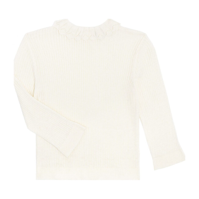 Quinn Lacey Collared Sweater, Cream - Sweaters - 1