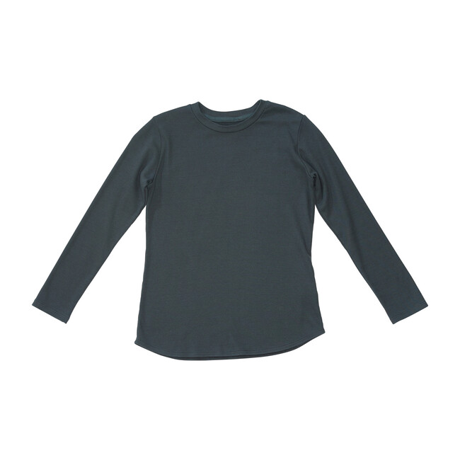 Long Sleeve Long Body Rib Tee, Washed Black