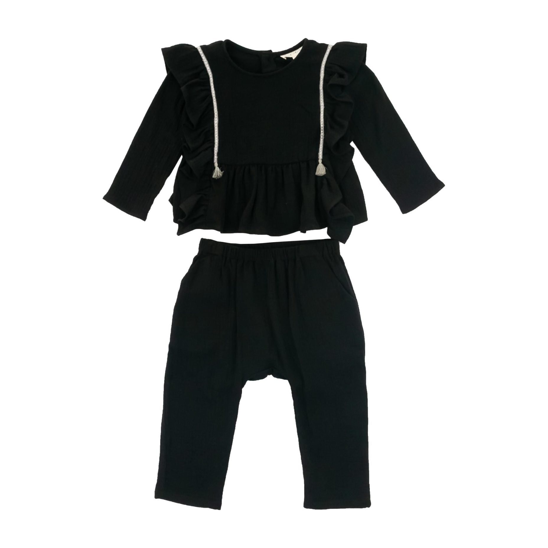 Luna Ruffled Set, Black
