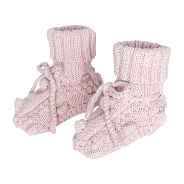 Knitted Booties, Dusty Rose