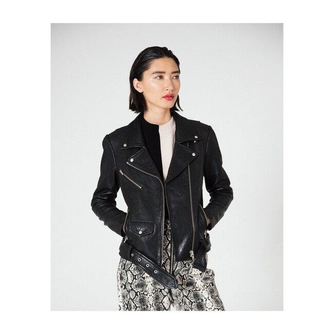 Jayne Classic Leather Jacket, Black