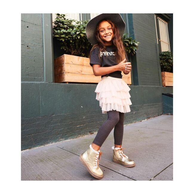 Aubrey's Fur Lace Boot, Gold