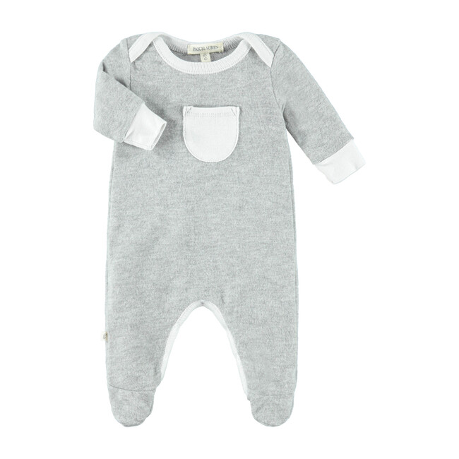 Footed Romper with Pocket, Mercury