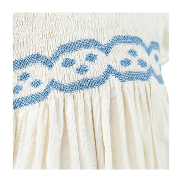 Fleur Corduroy Scalloped Dress, White