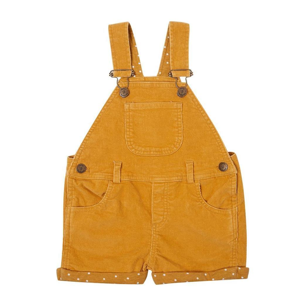 Corduory Short Dungarees, Yellow