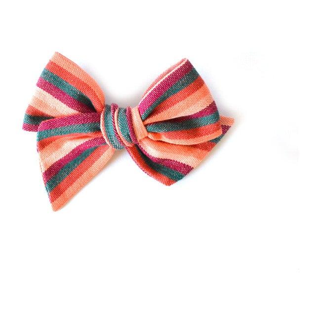 Calabacita Oversized Twirl Bow, Green & Orange - Hair Accessories - 1