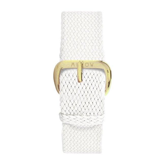 Braided Nylon Watch Band, White and Gold